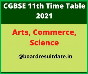 CGBSE 11th Time Table