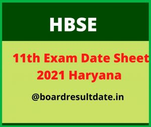 HBSE 11th Date Sheet