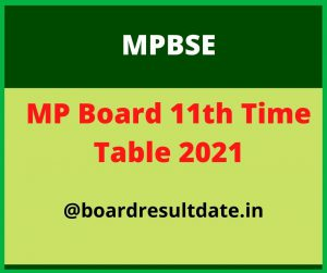 11th Class Time Table 2021 MP