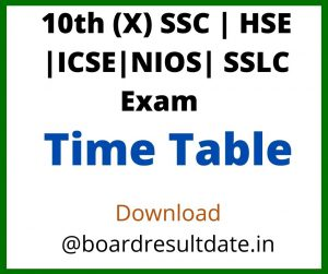 10th Time Table