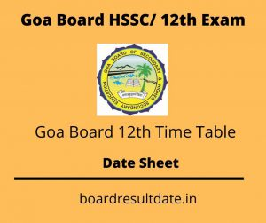 Goa Board 12th Time Table