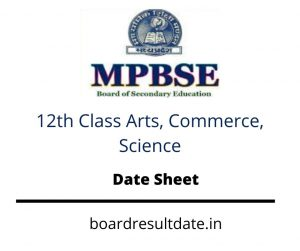 MP Board 12th Time Table